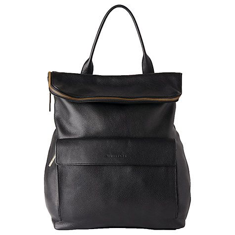 Buy Whistles Verity Large Leather Backpack, Black Online at johnlewis.com