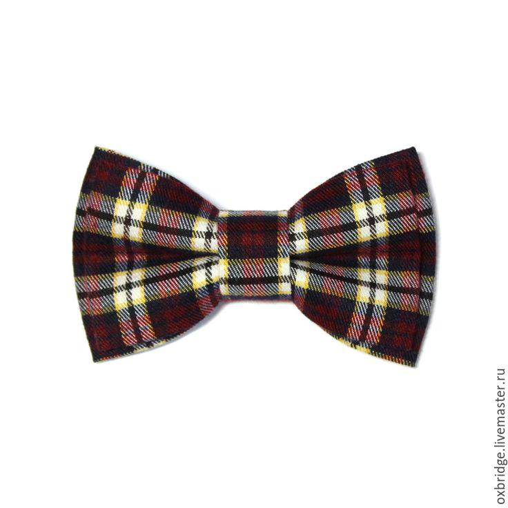 Купить Галстук бабочка бордового цвета в клетку / Бабочка галстук в клетку - галстук бабочка