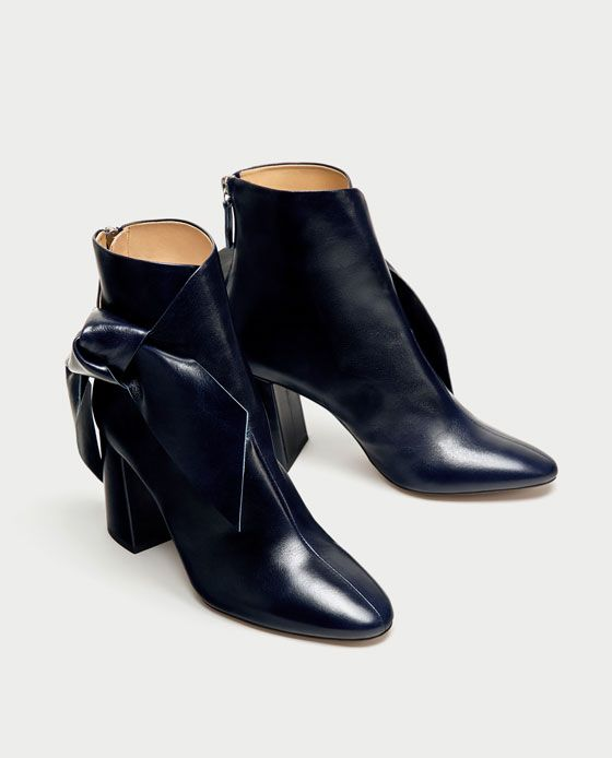 ZARA - WOMAN - LEATHER HIGH HEEL ANKLE BOOTS WITH BOW