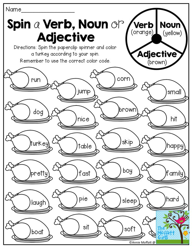 Spin a VERB, NOUN or ADJECTIVE! What a FUN way to practice