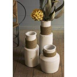 "Large white ceramic vase with jute trim detailing 23.5""h"