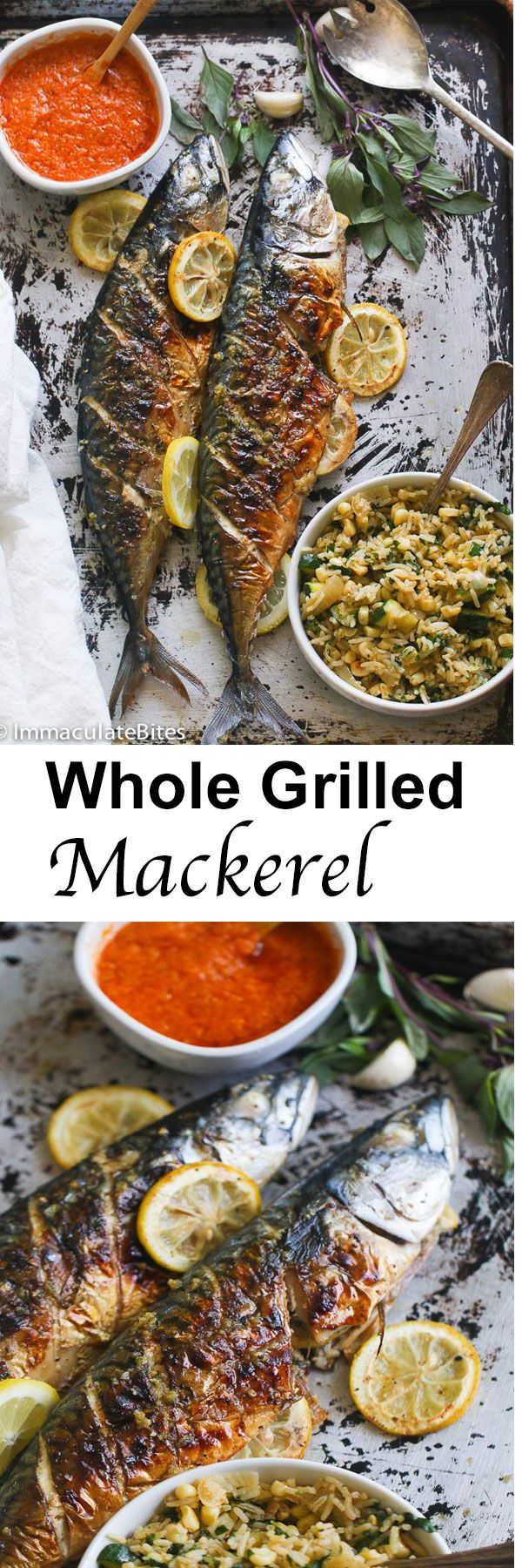 Whole Grilled Mackerel with less than 5 ingredients; Garlic , ginger and  basil   Quick and Easy and SUPER Flavorful.