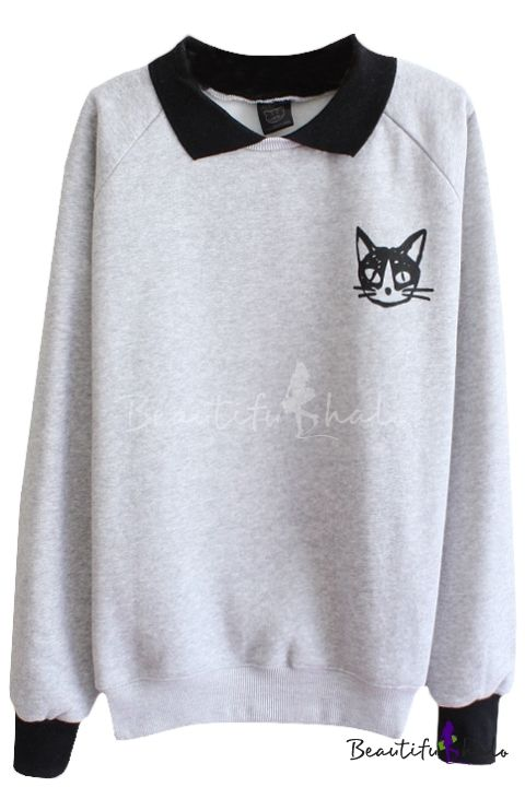 Cat Pattern Long Sleeve Sweatshirt with Contrast Collar and Cuff - Beautifulhalo.com