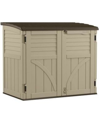 Suncast Storage Building. 2 ft. 8 in. x 4 ft 5 in. Resin Horizontal Storage Shed from Home Depot   BHG.com Shop