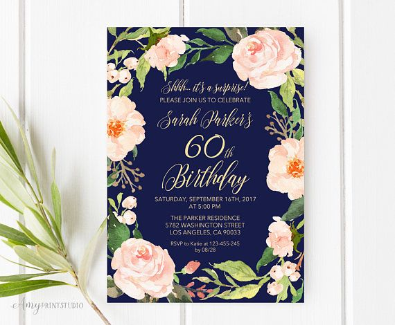 60th Birthday Invitation Floral Navy Birthday Invitation