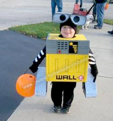 Homemade Wall-E Halloween Costume: My son Josh has been into Wall-e since the movie came out. He started requesting to watch it several times a day and, as Halloween approached, we asked