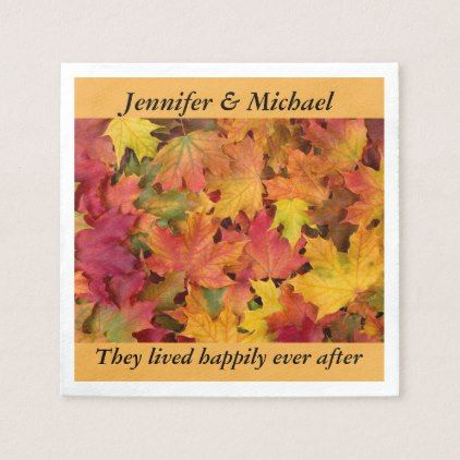 Napkin Wedding Reception Personalize Fall Leaves - home gifts ideas decor special unique custom individual customized individualized