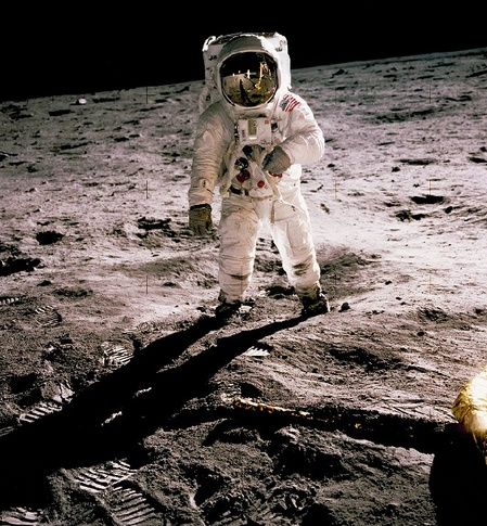 "On July20, 1969 Neil Amstrong became the first man to set foot on the Moon's surface. He took this picture of Edwin ""Buzz"" Aldrin, the second man on the Moon."