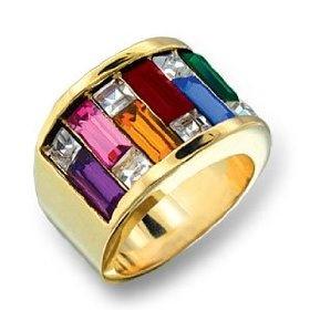 Women's Cluster Multicolor Swarovski Crystal Gold Tone Ring, Size: 5-12