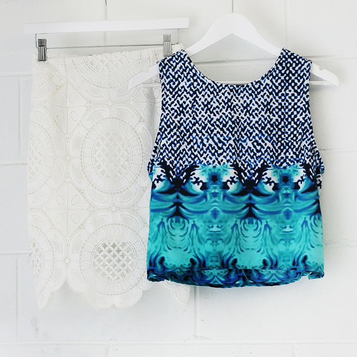 Shop @ http://bb.com.au white lace, lace skirt, printed top, blue print fashion, styling ideas, outfit inspo
