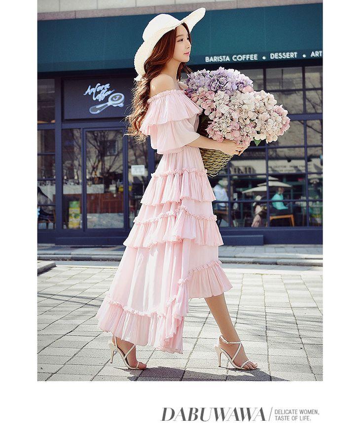 Aliexpress.com: Acheter Dabuwawa robes d'été 2017 new manches courtes taille haute gâteau slash cou hors de l'épaule mignon casual robes longues rose poupée de pink doll fiable fournisseurs sur DABUWAWA Trade Co.,Ltd