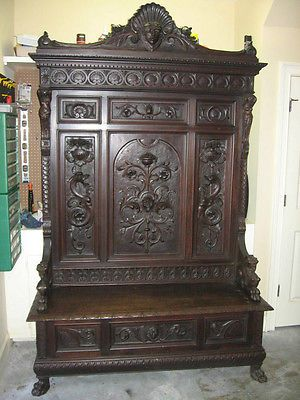 Antique Victorian Carved Walnut Hall Bench, Circa 1870's, Figural, Ornate, Huge