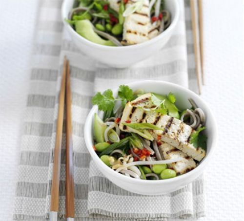 Soba noodle & edamame salad with grilled tofu