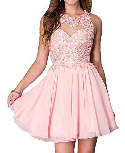 Lovelybride Sweet Appliques Beaded Short Chiffon Homecoming Prom Dress