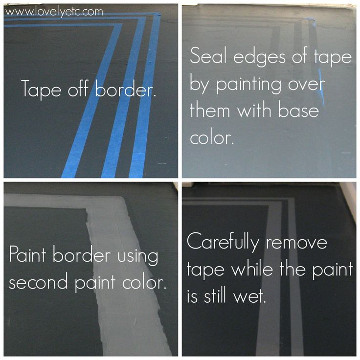 Steps to painting a border on your painted floor (or other painted project) so that you get nice, clean paint lines
