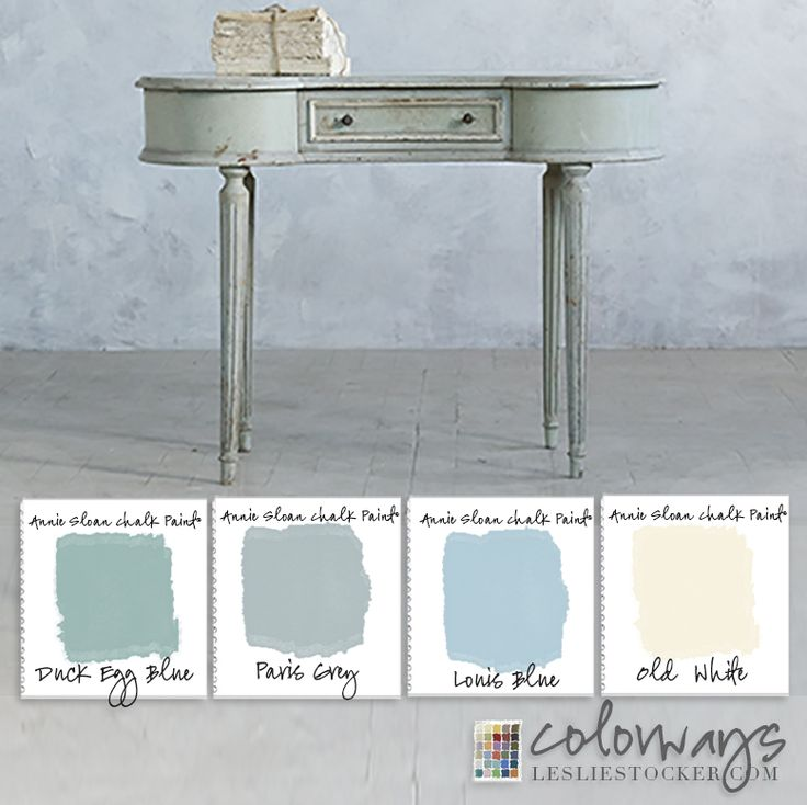 Colorways with Leslie Stocker      Annie Sloan Chalk Paint®,  Duck Egg and Louis Blue color combination inspired by vintage vanity ( found on Eloquence, Inc)