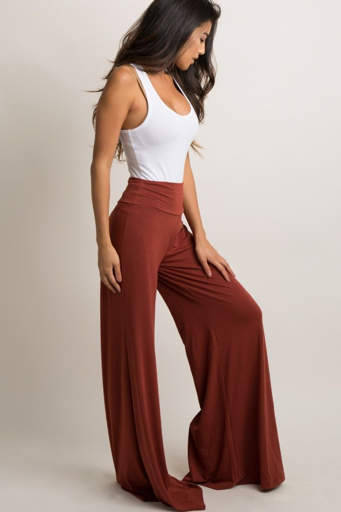 Solid wide leg lounge pants. Elastic waistband. This style was created to be worn before, during, and after pregnancy. #pregnancypants,