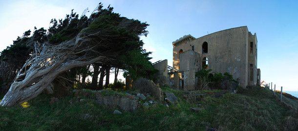 Cargills Castle a clifftop Victorian ruin above Dunedin, New Zealand