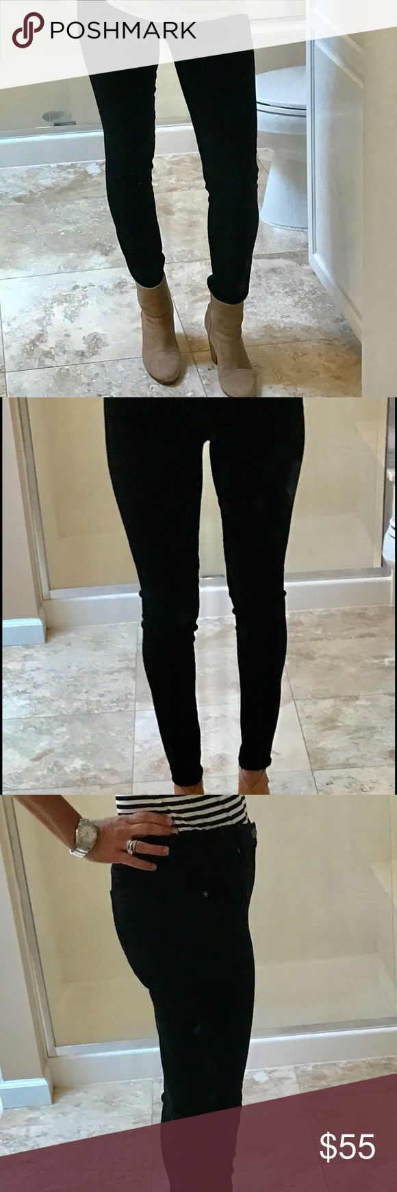 """Citizens of Humanity Avedon Slick Skinny Leg Jean Near Perfect Condition.  The name of this black Avedon jean does not lie - """"slick skinny leg"""" is true as can be.  There is some stretch but the jeans are very fitted, especially in thighs and legs.  I am normally a 28/29 and I had to buy these in 31!  Ankle length; black; 5 pocket.  Very soft fabric.  Purchased at very luxurious department store in Düsseldorf, Germany. Citizens of Humanity Jeans Skinny"""