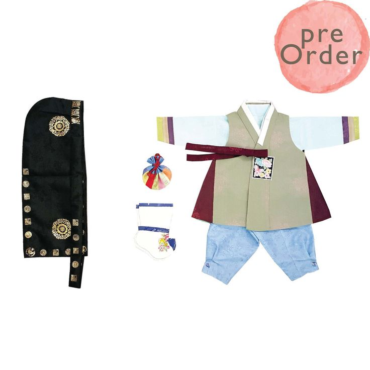 Green patch and Baby blue - Boy Dol Hanbok Set - 5 Pieces