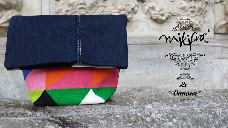 Gemelle 2: Mini Bag in jeans e cotone colorato a fantasia triangolare