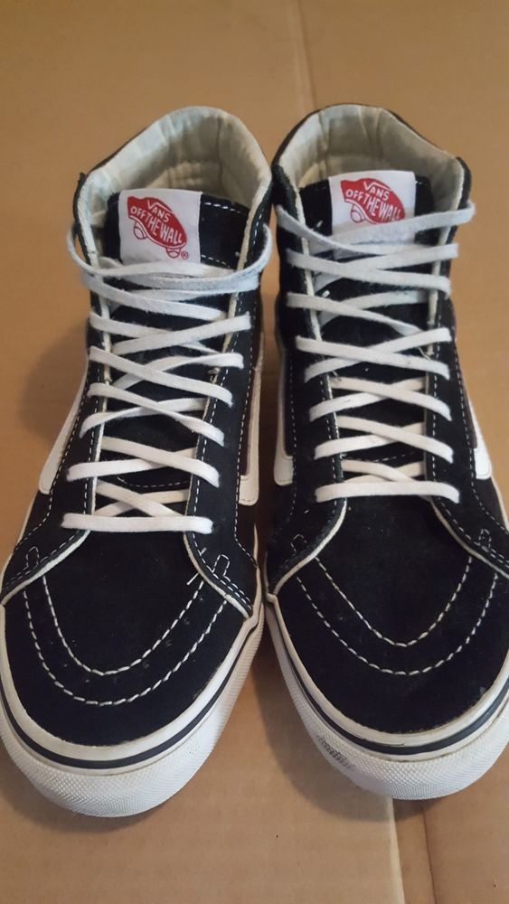 VANS Old Skool high tops black and white Mens 6 Womens 7.5 Good Pre ...