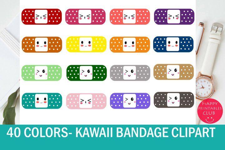 40 Kawaii Bandage Band Aid Clipart Colorful Bandaid Clipart 65662 Illustrations Design Bundles In 2021 Clip Art Band Aid Bandage