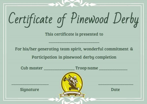Pinewood Derby Certificate Word Templates