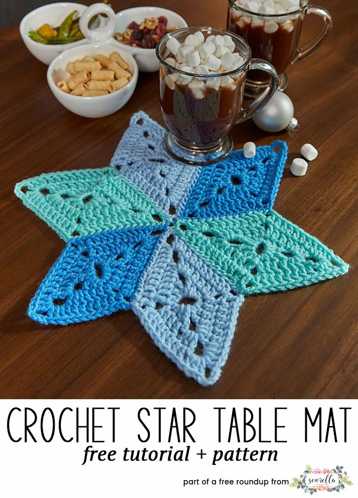 Crochet this classic crochet star table mat hot pad home decor piece from Red Heart from my Celebrate Hanukkah free crochet pattern roundup!