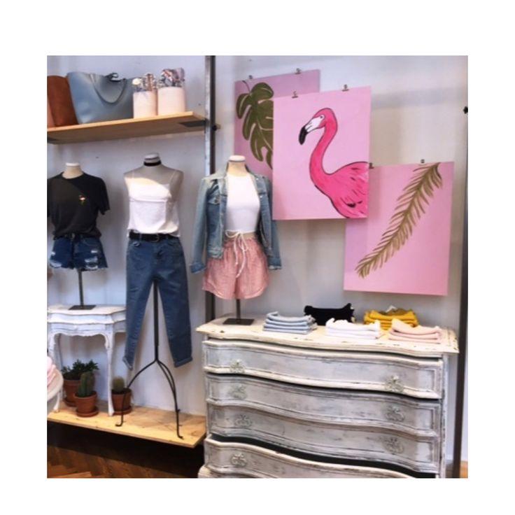 #subdued #mywork #windowsdisplay #art #store #retail  #flamingo #summer