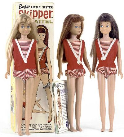 Skipper Dolls,   Barbie got a little sister in 1964, with the introduction of vintage Skipper dolls.  Skipper was a cute preteen with a wardrobe to match her glamorous big sis. (Skipper is sometimes called Barbie Skipper because she is Barbie's little sister.)