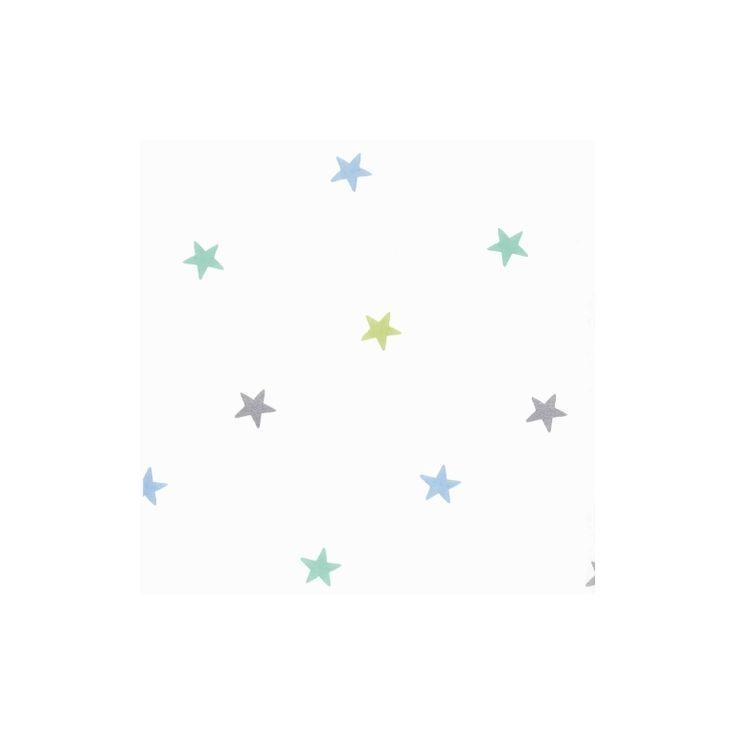 Pip Tapete Cherry Blossom : Camengo Tapete Sternchen blau/gr?n/silber 'Lollipops' bei Fantasyroom