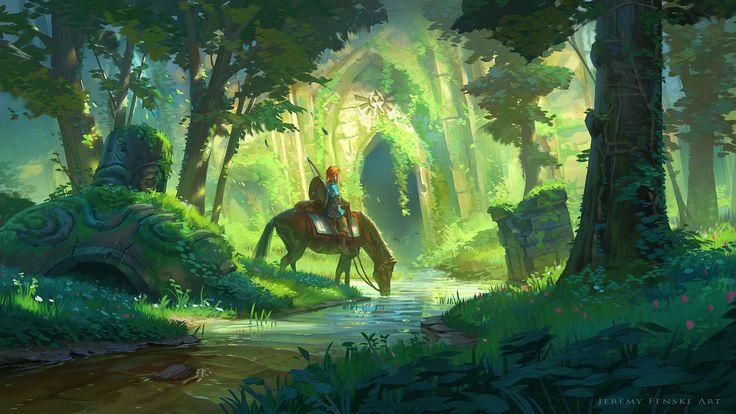 Fond d'écran Zelda; Link à Cheval dans une forêt