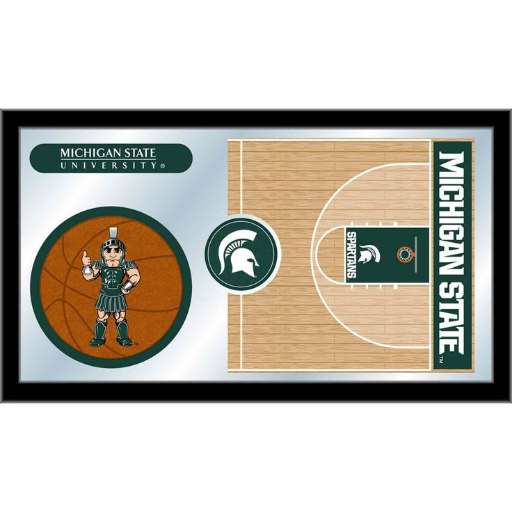 Michigan State Spartans Basketball Court Mirror Wall Art