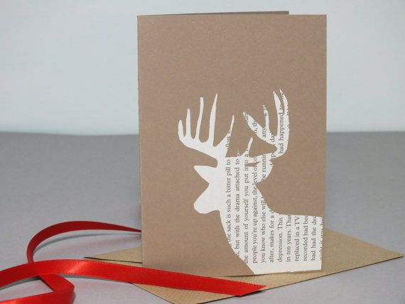 Christmas cards - pack of 6 - papercut ex-library books- cream & vintage brown