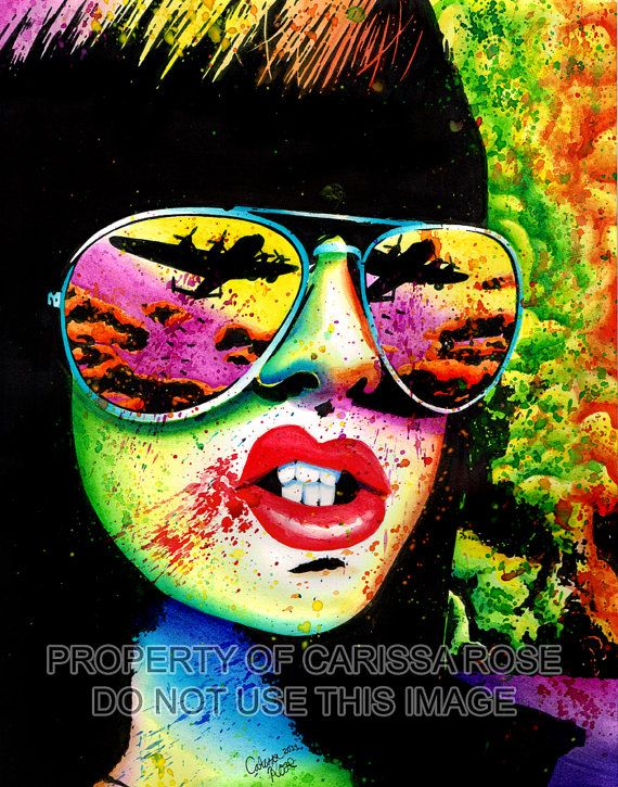 Art Print Punk Rock Pop Art Horror Splatter Portrait - Here Come the Bombs by Carissa Rose