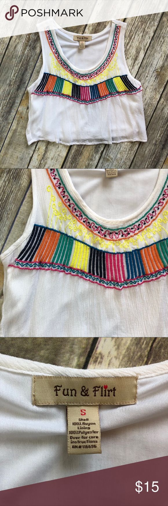 Embroidered Multi Color Crop Top Cute multi color embroidered crop top. Lined. Never worn - NWOT. Everything as pictured.   NOTE - this is from owner's closet. Not a NWT boutique item Tops Crop Tops