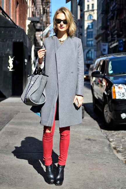 SAINT ALLISON saved this photograph to their profile. Grey coat, grey chanel bag, red jeans, ankle booties.