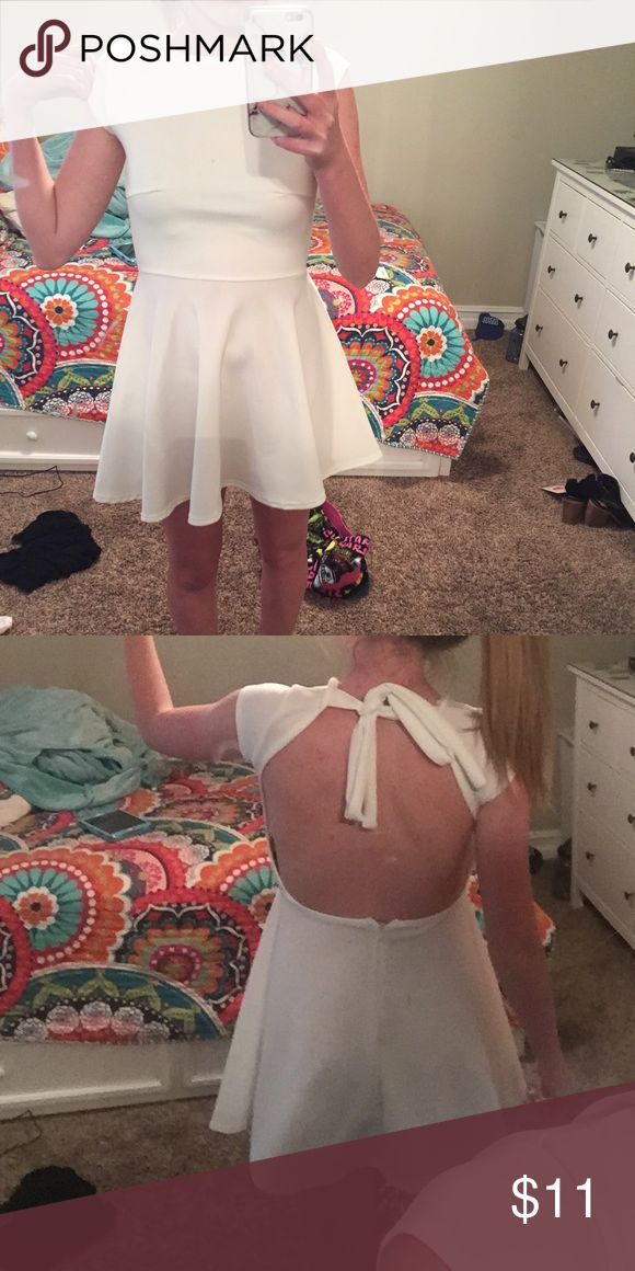 white skater dress white skater dress with open back and ties around the neck Boohoo Dresses Backless
