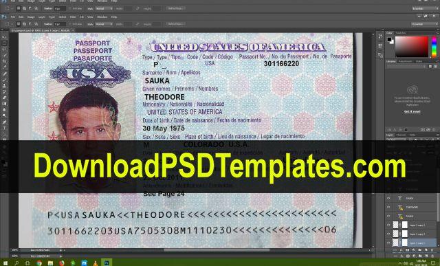 Usa Passport Psd Template New Editable Blank Fake File Psd