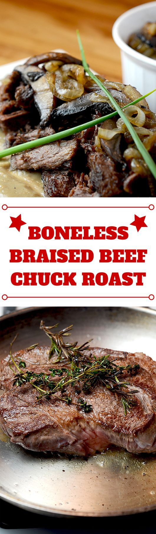 Pan seared boneless beef chuck roast recipe has huge flavors and is ready to be braised within minutes! Paleo, gluten free and low carb. | Braised boneless beef chuck roast recipe takes minutes to prepare and will fill your house with the most incredible aromas! Paleo, low carb and gluten free