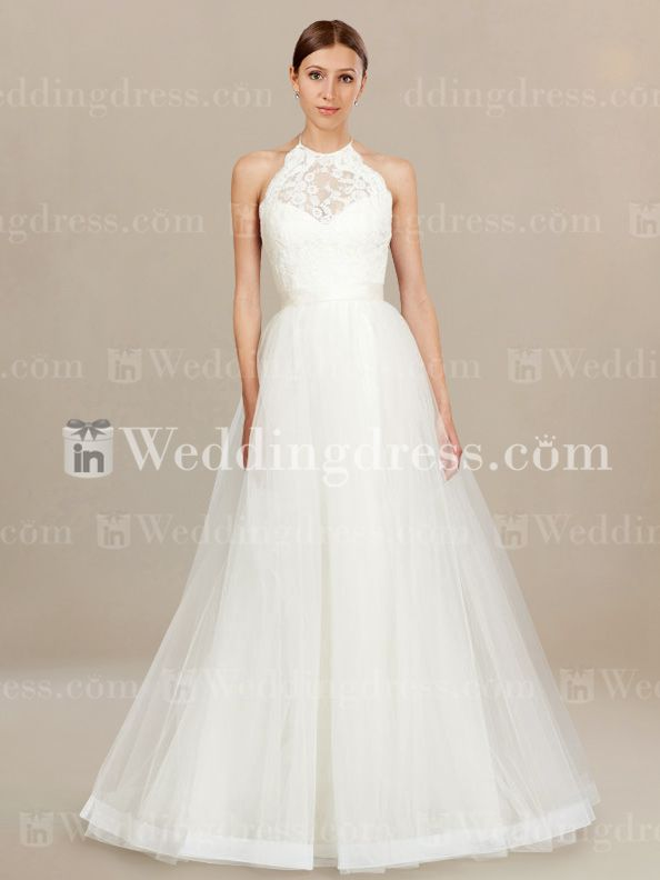 Casual Wedding Dress with Lace Halter Bodice. Re-pin if you like. Via Inweddingdress.com #weddingdresses