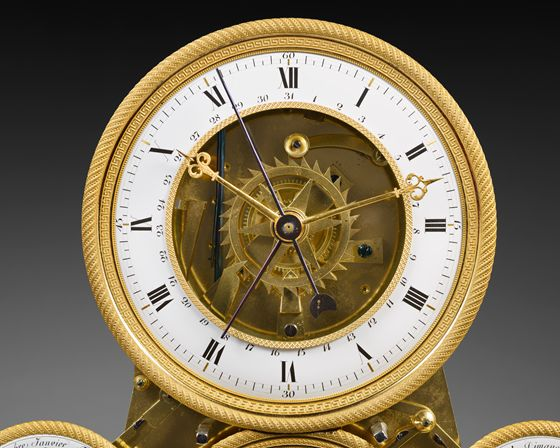 "- Rare Gilt Bronze and ""Vert de Mer"" Marble Skeleton Clock, Empire period 1810"