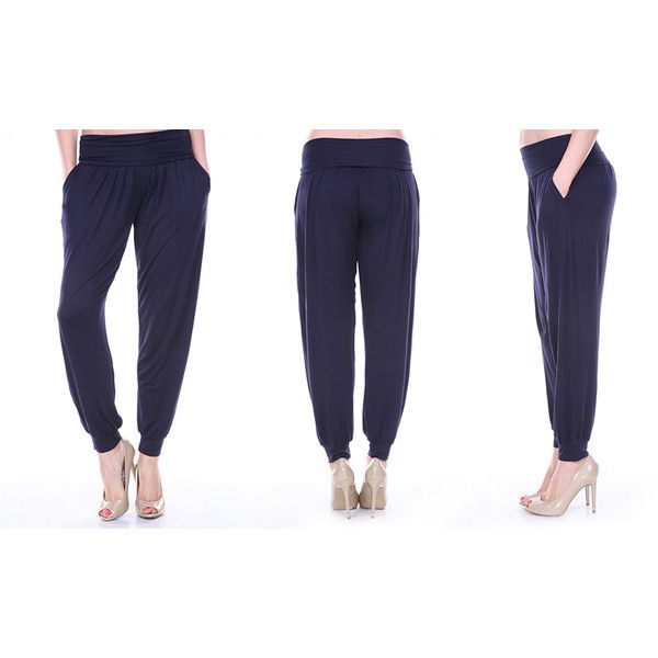 Womens White Mark Women Harem Pants: Navy/Small (37 CAD) ❤ liked on Polyvore featuring pants, blue, navy trousers, harem pants, white harem pants, white pants and navy blue harem pants