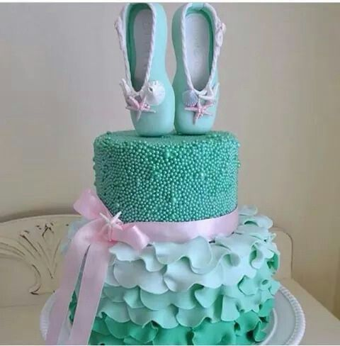 Aqua and pink ballet slippers cake