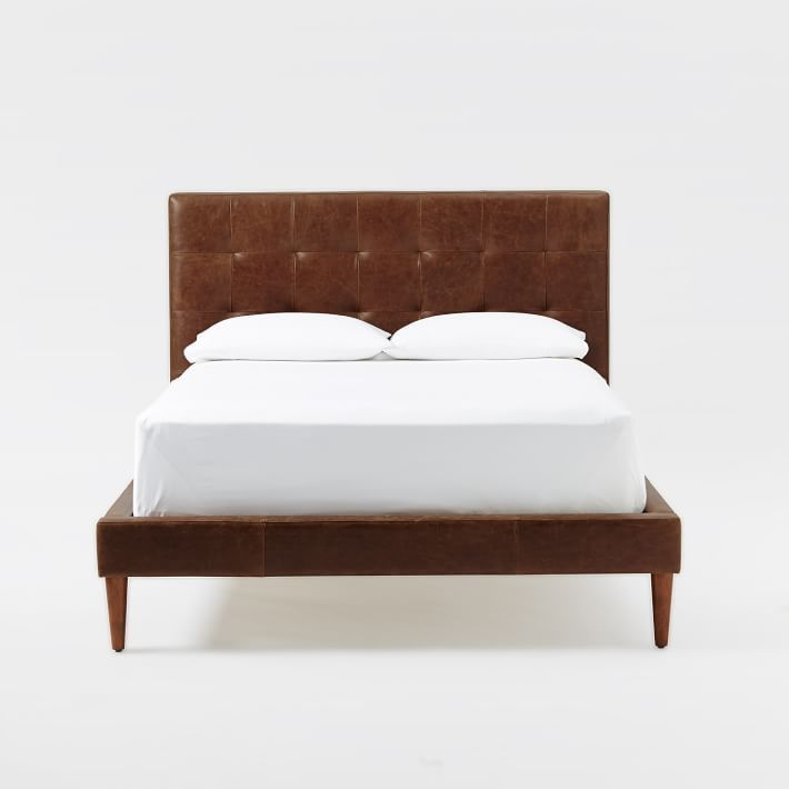 Grid-Tufted Leather Tapered Leg Bed - Mocha