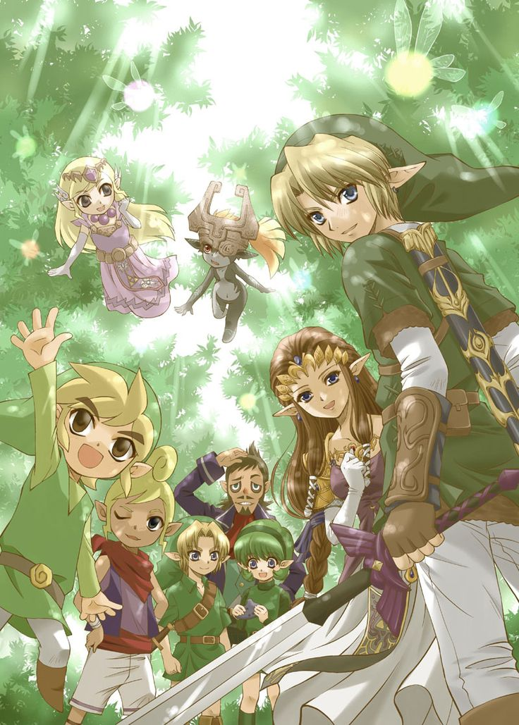 Toon Link, Tetra, Captain Linebeck, Child Link, Saria, Link, Zelda, Toon Zelda, and Midna. And assorted fairies whose names I forgot. Idk. Navi could be one. And the fairies from Phantom Hourglass.