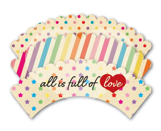 INSTANT DOWNLOAD Printable Cupcake Wrappers Retro Rainbow of Love. $3.75, via Etsy.
