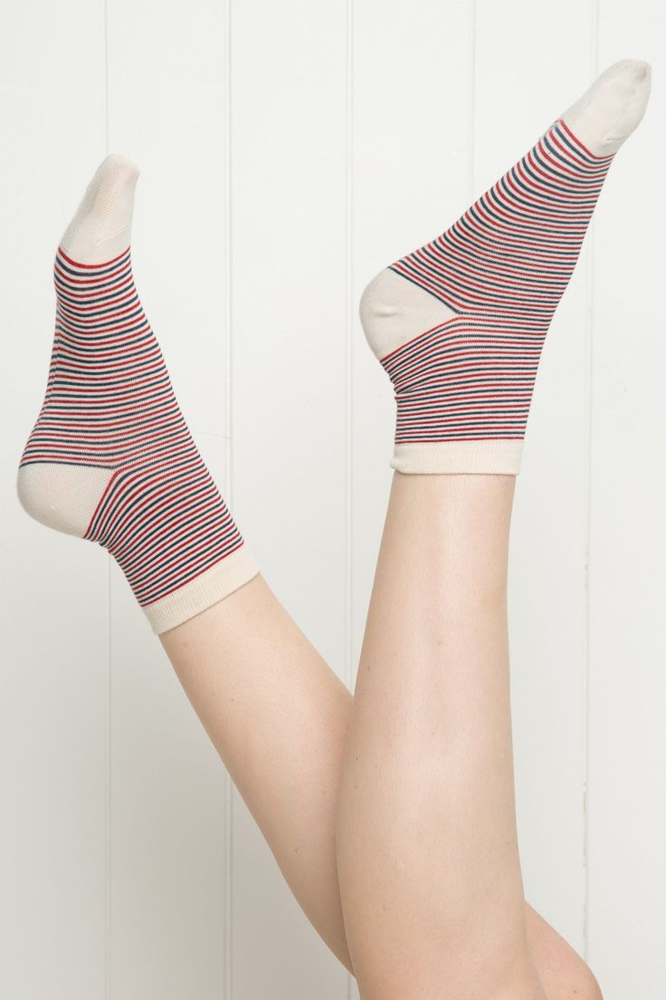 Brandy ♥ Melville | Navy and Red Stripe Socks - Accessories