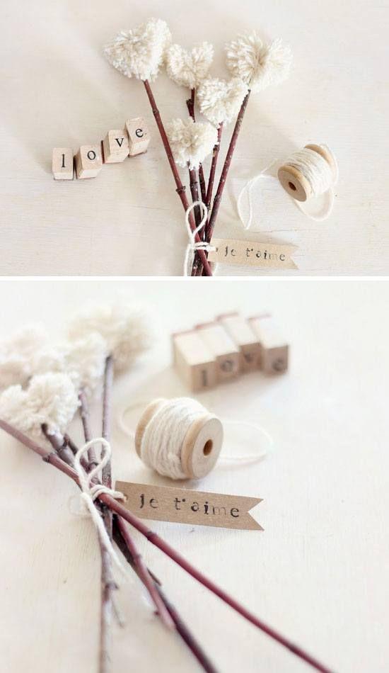 Heart Shaped Pompom Bouquet  | 25 DIY Winter Wedding Ideas on a Budget | DIY Winter Wedding Decorations